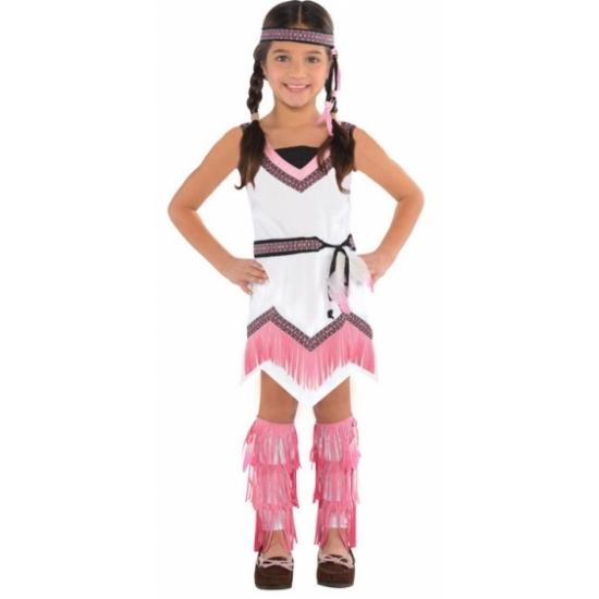 Geschiedenis kostuums Roze met wit indianen jurkje voor meisjes