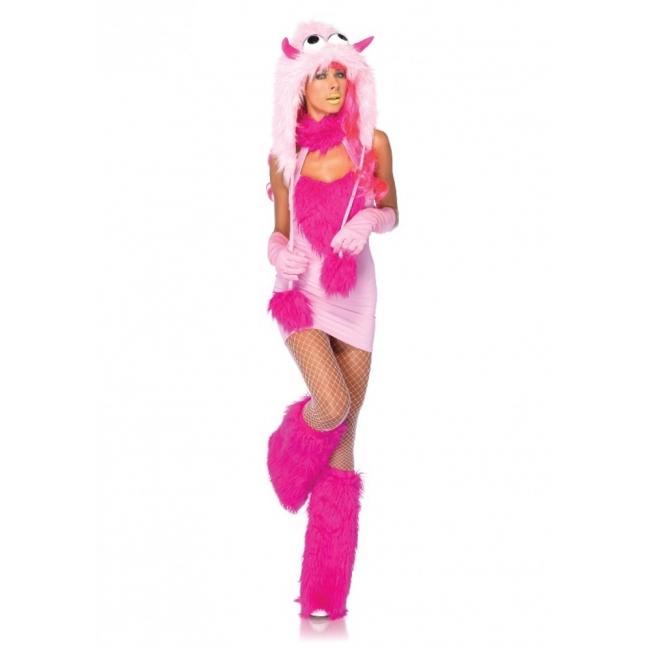 Fantasy en Sprookjes kostuums Leg Avenue Roze monster carnavalkostuum voor dames
