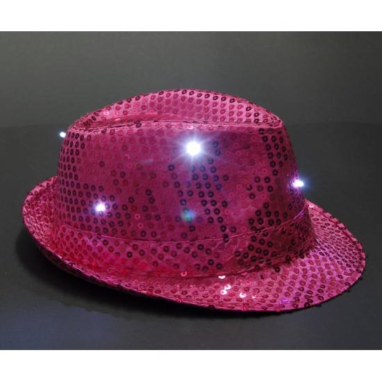 Geen Roze pailletten hoedje met LED licht Feest hoeden