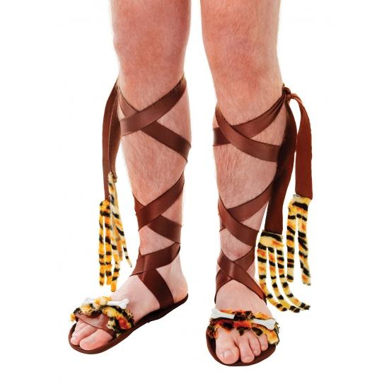 Verkleedaccessoires Carnavalskostuum winkel Sandalen met botjes bruin