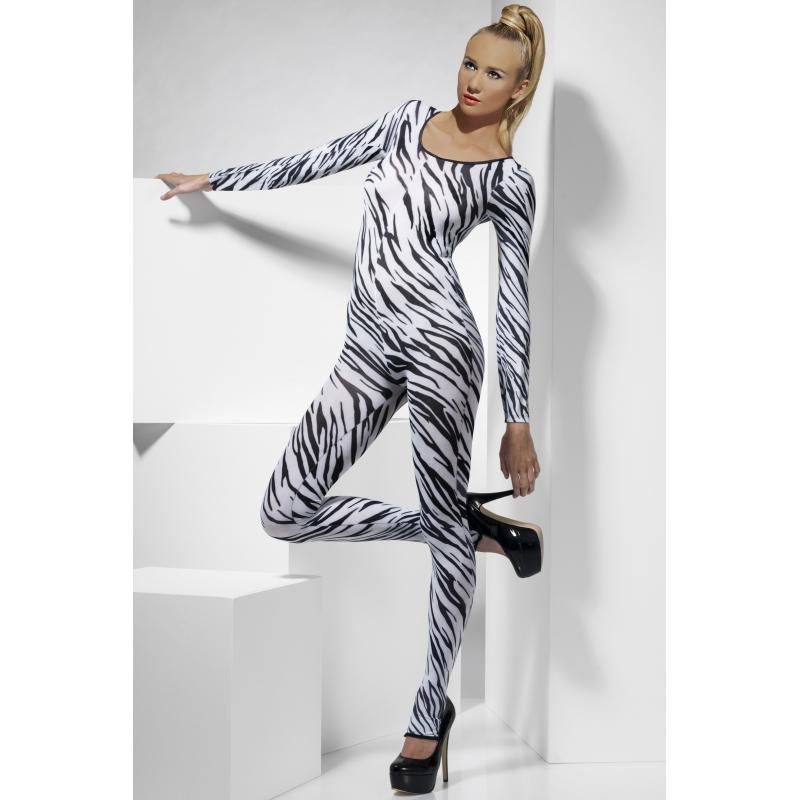 Sexy catsuit met zebra print dames