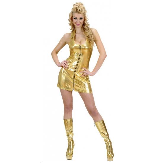 Sexy goud dames jurkje met rits