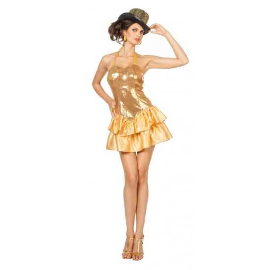 Sexy halter jurk met gouden pailletten voor dames