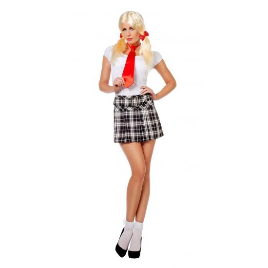 Sexy korte Schotse rok in zwart met wit voor dames