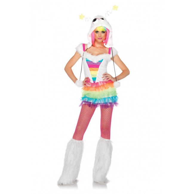 Sexy verkleedkleding regenboog monster jurkje