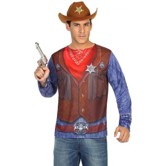 Sheriff Cowboy verkleed shirt voor heren Carnavalskostuum winkel te koop