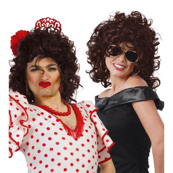 Carnavalskostuum winkel Spaanse dames pruik met krullen bruin Pruiken