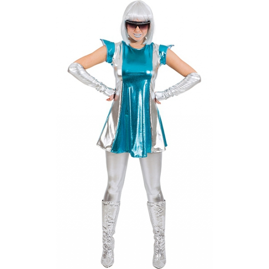 Fantasy en Sprookjes kostuums Space kostuum blauw zilver voor dames