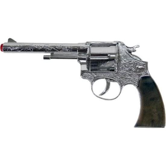 Speelgoed plaffertjes/klappertjes pistool 12 schots zilver 25 cm