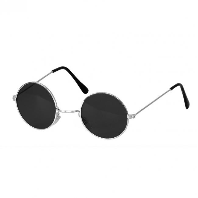 Verkleedaccessoires Carnavalskostuum winkel Steampunk bril met ronde glazen zwart