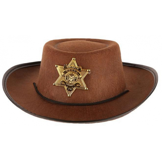Stoere bruine cowboy hoed voor kinderen Carnavalskostuum winkel Beste kwaliteit