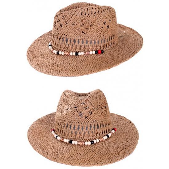 Geen Stro cowboyhoed Ibiza met kralen Feest hoeden
