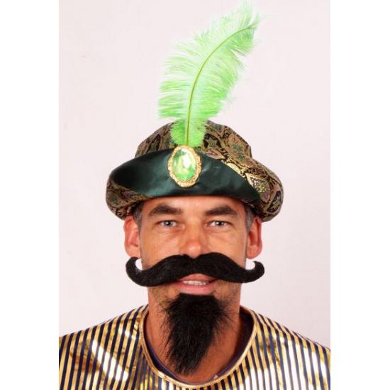 Feest hoeden Geen Sultan muts met groene veer