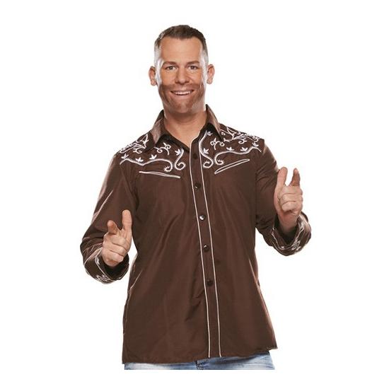 Themafeest Bruine western blouse voor heren