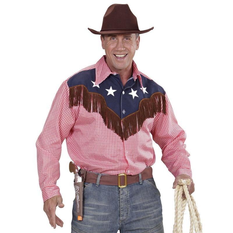 Themafeest Cowboy verkleed shirt geruit voor heren