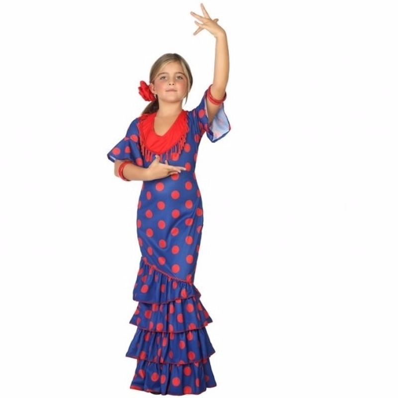 Themafeest Flamenco danseres kostuum blauw met rood