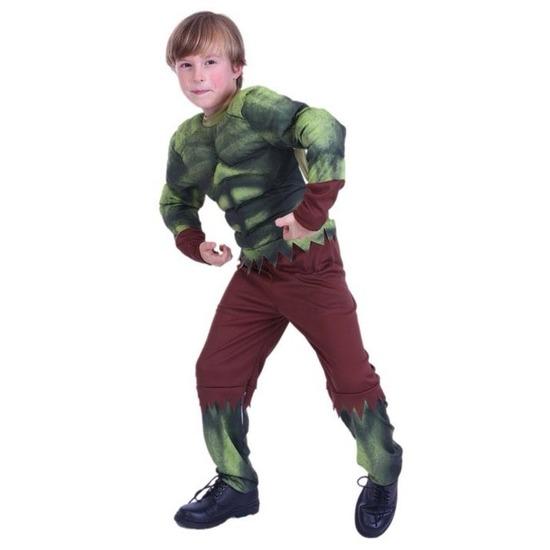 Themafeest Gespierde groene held kostuum voor jongens