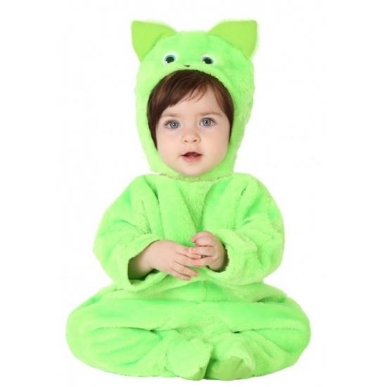 Themafeest Groene kat dierenkostuum voor babys