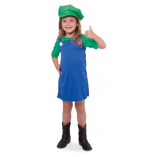 Themafeest Loodgieter jurkje groen voor meisjes