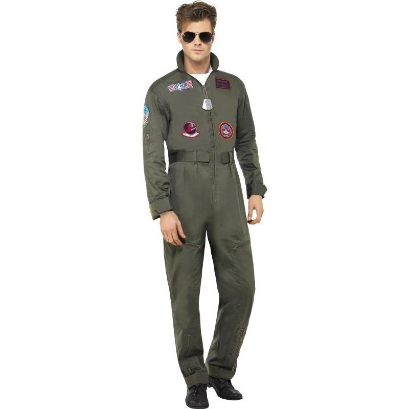 Themafeest Luxe straaljager Top Gun piloten jumpsuit voor heren