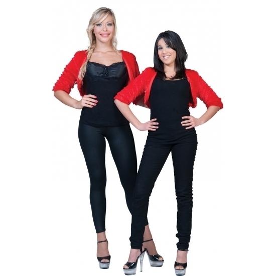 Themafeest Rode bolero bontjasje voor dames