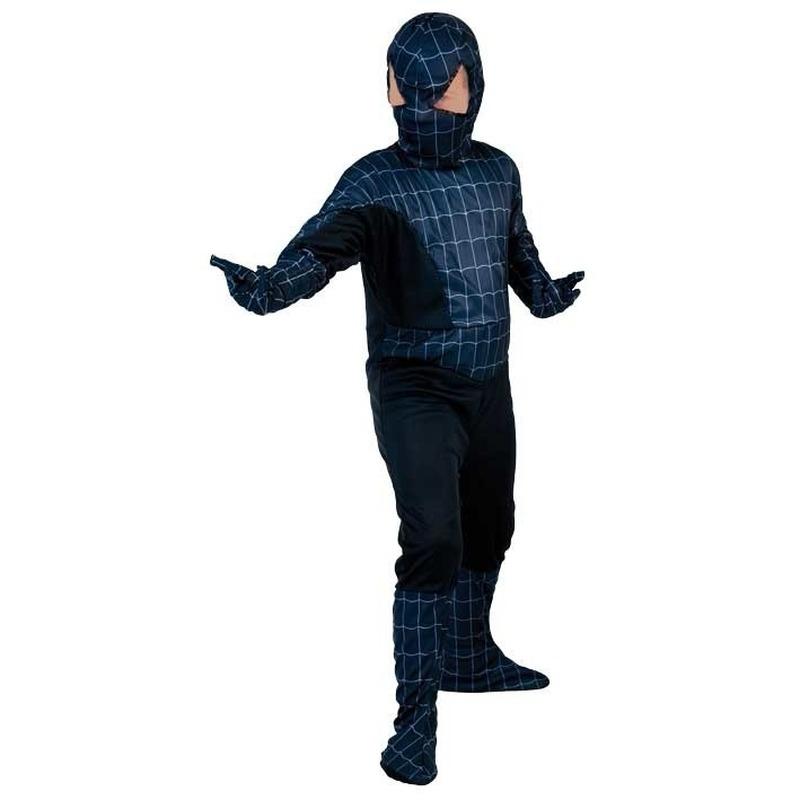 Themafeest Voordelig zwarte spinnenheld kostuum voor jongens
