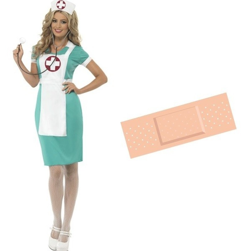 Themafeest Zuster verkleed jurk dames 40/42 met gratis pleister sticker