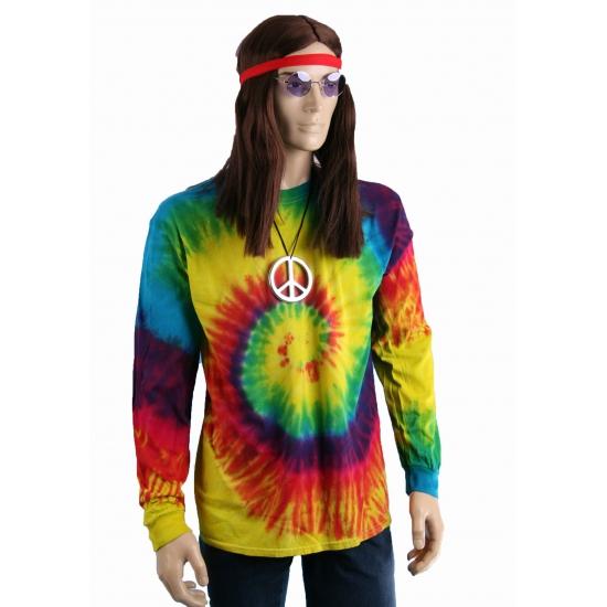 Soorten kostuums Tie dye lange mouw t shirt rainbow