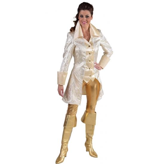 Toppers - Luxe witte brokaat jas
