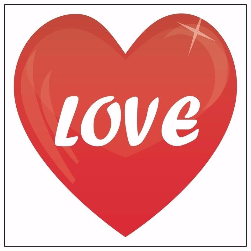 Valentijn - 10x love hartje sticker 10,5 cm