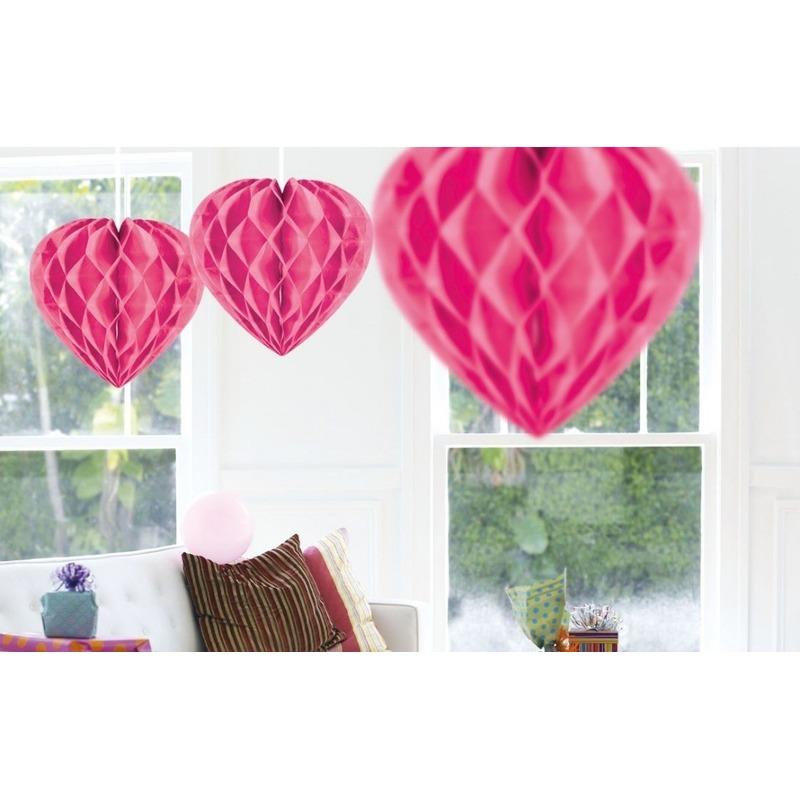 Valentijn 5x Hangende hartje deco bollen roze 30 cm