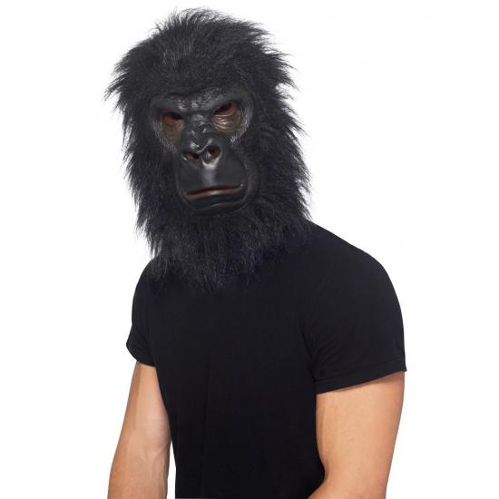Verkleed masker latex zwarte aap met haar