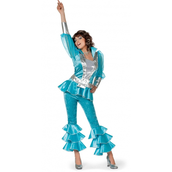 Verkleedkleding Blauw disco kostuum voor dames