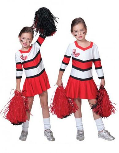Verkleedkleding cheerleadersjurkje rood met wit