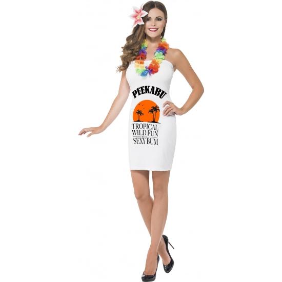 Verkleedkleding dames wit drank jurkje met bloem