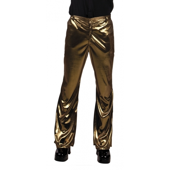 Verkleedkleding Glimmende gouden disco broek