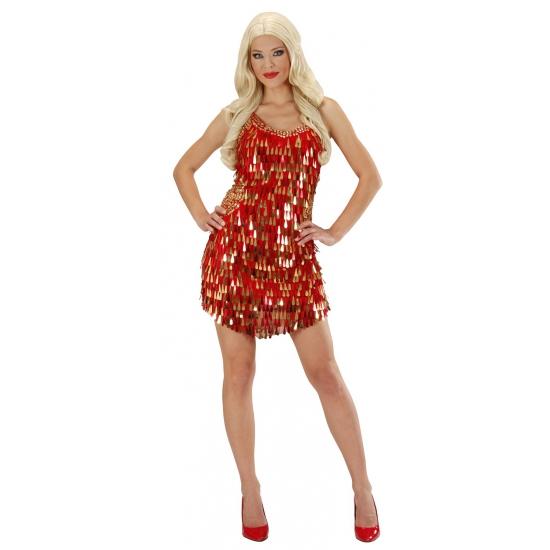 Verkleedkleding jurkjes rood met gouden pailletten