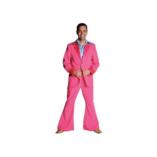 Verkleedkleding Roze 70's kostuum voor heren