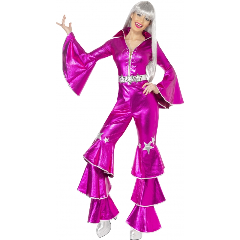 Verkleedkleding Roze Dancing Queen kostuum 70s