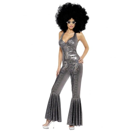 Verkleedkleding Zilver disco kostuum voor dames