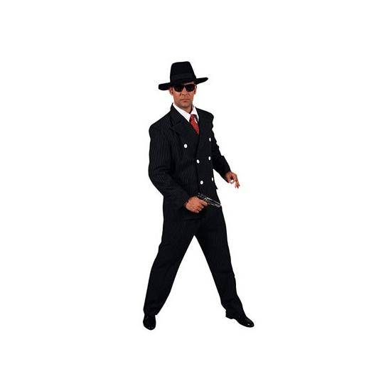 Verkleedkleding Zwart heren gangster kostuum