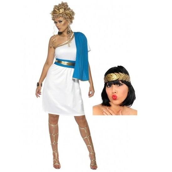 b1e2e7c75c924d Wit met blauw romeins jurkje inclusief lauwerkrans in de ...