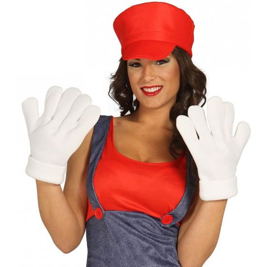 Witte grote handschoenen voor volwassenen Carnavalskostuum winkel Verkleedaccessoires