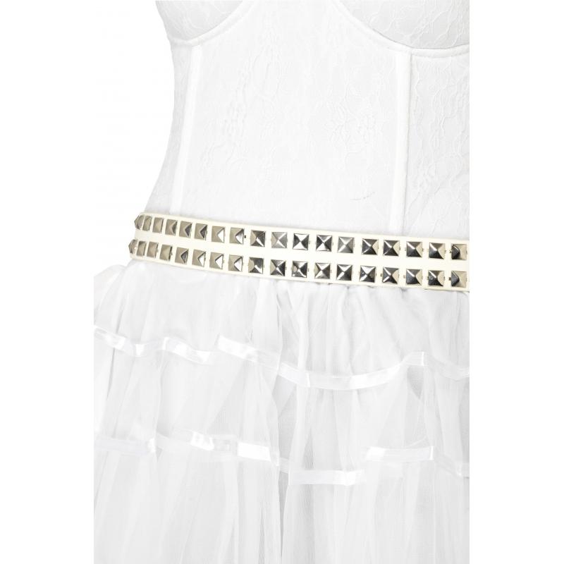 Verkleedaccessoires Smiffys Witte riem met zilveren noppen