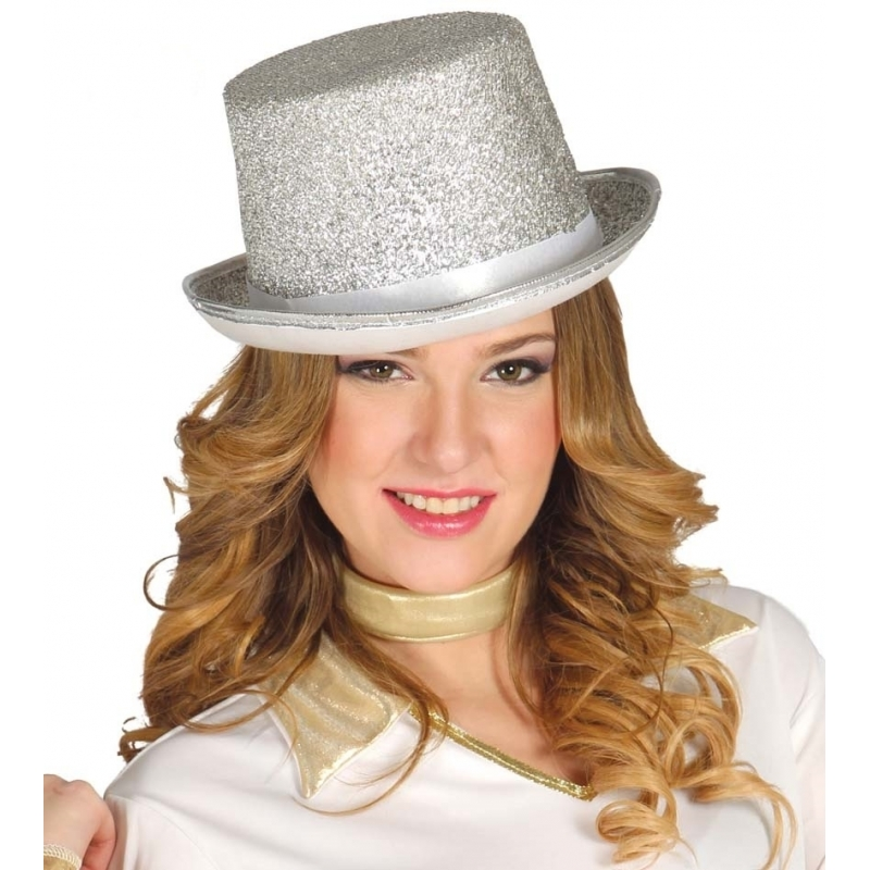 Carnavalskostuum winkel Zilveren glitter hoedje Feest hoeden