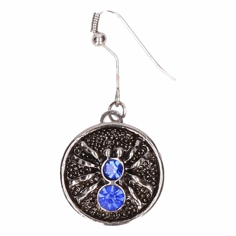 Zilveren heksen oorbellen blauw voor volwassenen