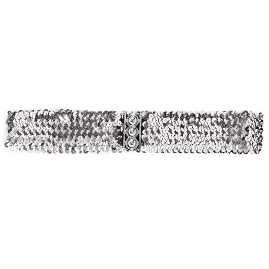 Zilveren pailletten riem 62 cm Carnavalskostuum winkel Verkleedaccessoires