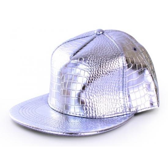 Feest hoeden Zilveren rapper pet krokodil voor volwassenen