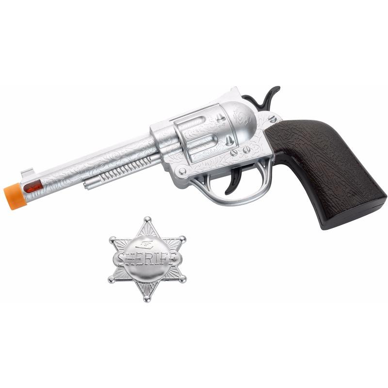 Wapens Zilveren Western revolver met badge