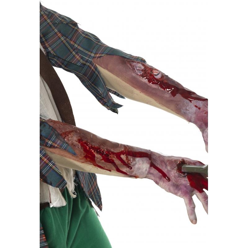 Zombie arm met littekens en bloed
